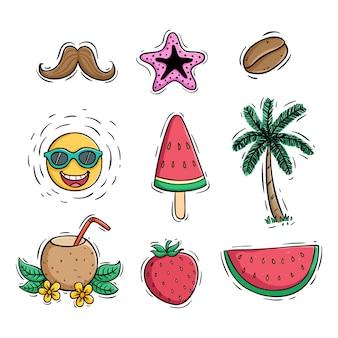 Colección de elementos de verano con estilo coloreado.