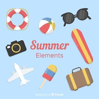 Colección de elementos de verano en estilo flat