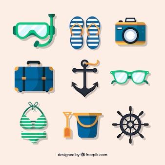 Colección de elementos de verano en estilo plano