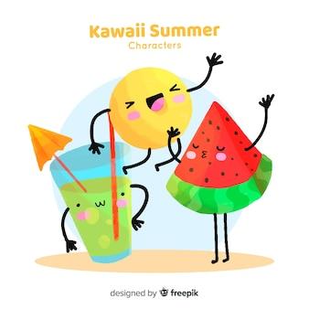 Colección elementos de verano kawaii coloridos