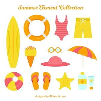 Colección de elementos de verano con ropa y comida en estilo plano
