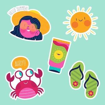 Colección de elementos de verano