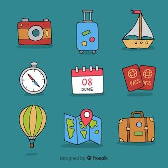 Colección elementos viaje dibujada a mano
