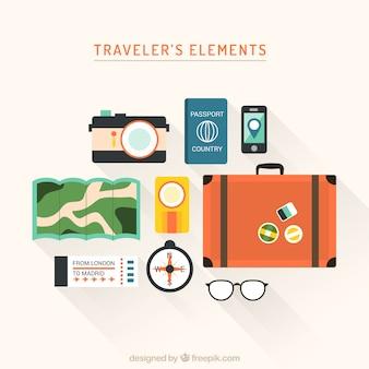 Colección de elementos de viaje en un estilo plano