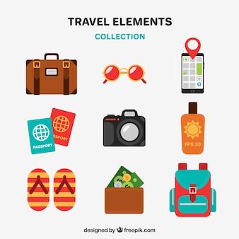 Colección de elementos de viaje en estilo plano