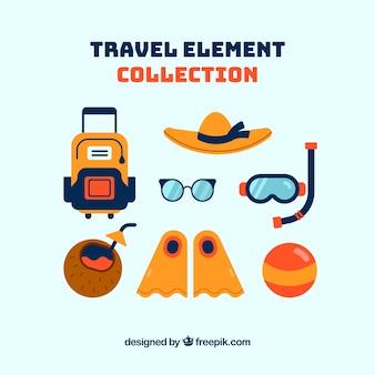 Colección de elementos de viaje de verano con diseño plano