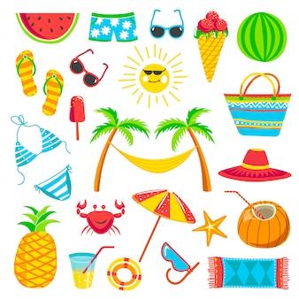 Colección de elementos de viaje de verano