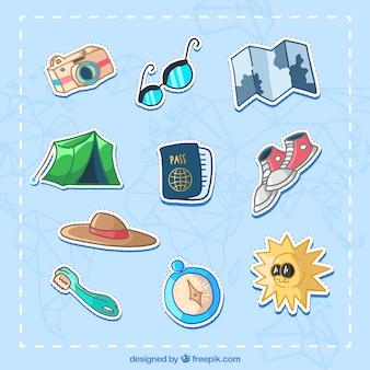 Colección de elementos de viaje