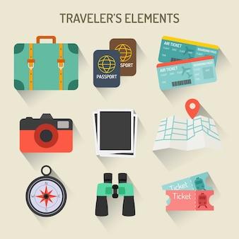 Colección de elementos de viajero