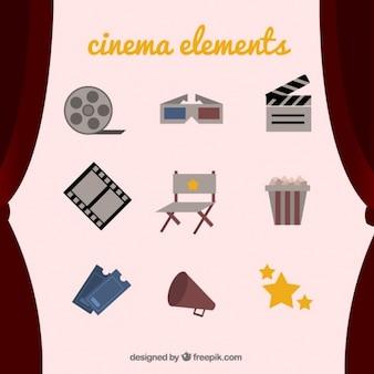 Colección de elementos vintage de cine
