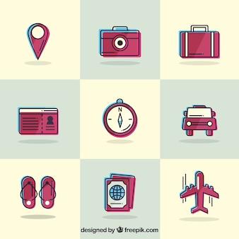 Colección de elementos vintage de viaje