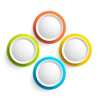Colección de elementos web abstractos con cuatro coloridos botones redondos en blanco aislado