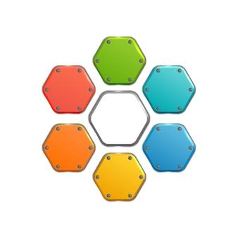 Colección de elementos web abstractos de negocios con coloridos botones hexagonales de metal en blanco aislado