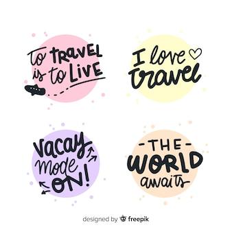 Colección de emblemas caligráficos coloridos de viaje