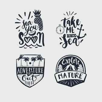 Colección de emblemas caligráficos de viaje