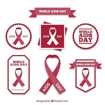 Colección de emblemas del día mundial del sida