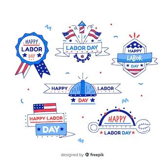 Colección de emblemas del día del trabajo dibujadas a mano