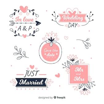Colección de emblemas florales de boda dibujados a mano