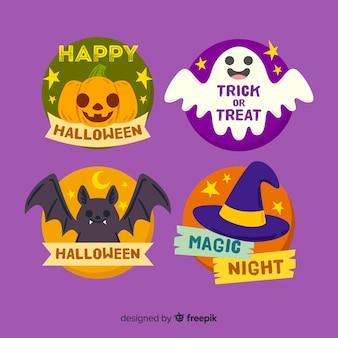 Colección de emblemas de halloween dibujados a mano