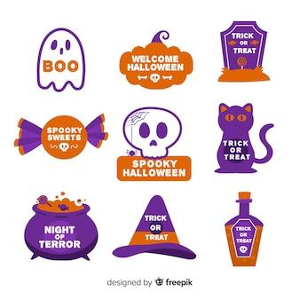Colección de emblemas de halloween en diseño plano