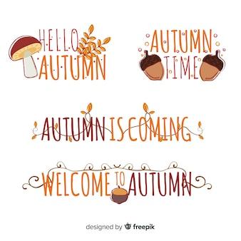 Colección de emblemas de otoño dibujadas a mano