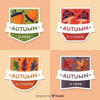 Colección de emblemas de otoño en diseño plano