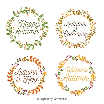 Colección de emblemas de otoño estilo acuarela