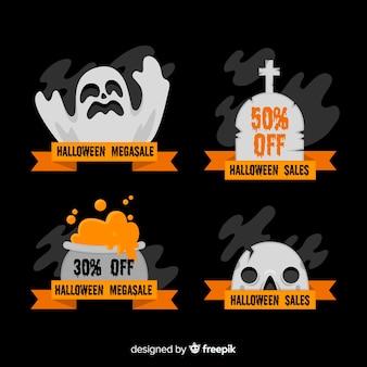 Colección de emblemas de rebajas de halloween en diseño plano