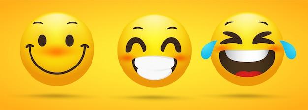 Colección de emojis que muestra emociones felices.