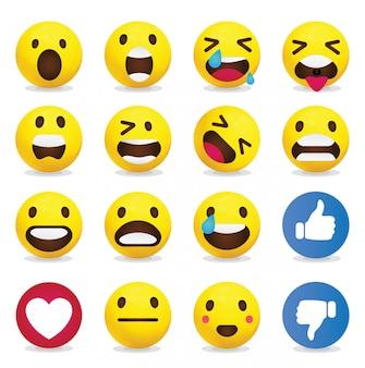 Colección de emoticonos amarillos.