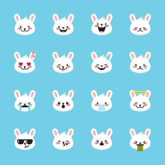 Colección de emoticonos de conejo