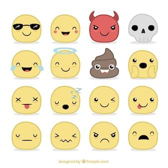 Colección de emoticonos dibujados a mano