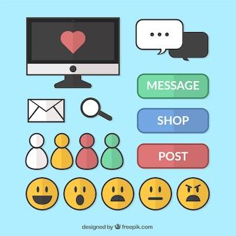 Colección de emoticonos y elementos de redes sociales