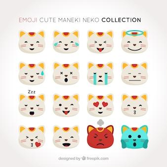 Colección de emoticonos del gato de la suerte