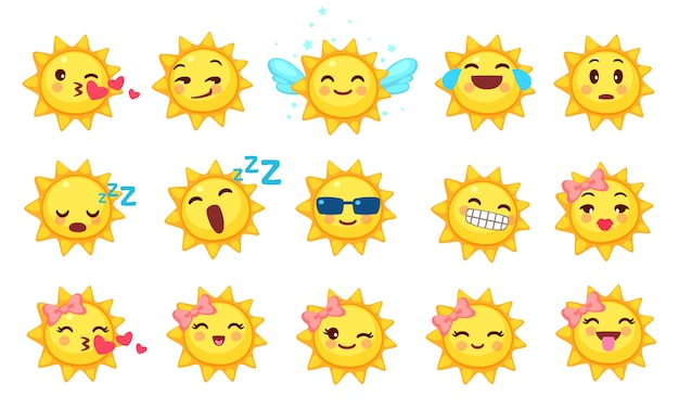 Colección de emoticonos lindos del sol