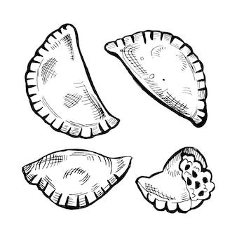 Colección de empanadas en blanco y negro