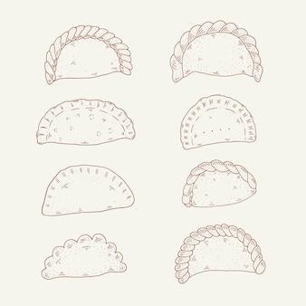 Colección de empanadas dibujadas a mano