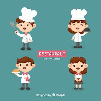 Colección empleados restaurante dibujados a mano