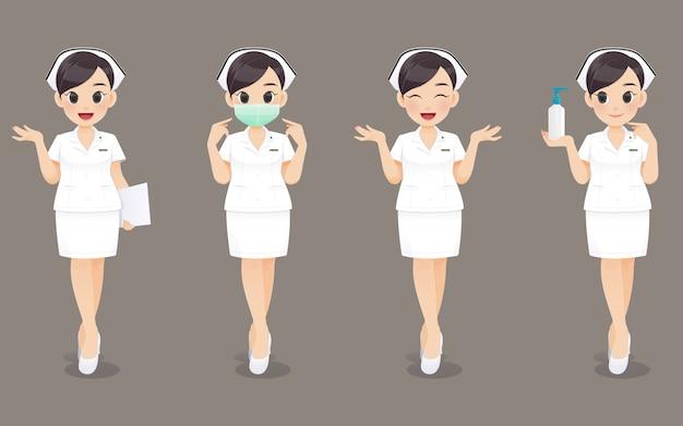 Colección de enfermera, mujer médico de dibujos animados o enfermera en uniforme blanco. diseño de personaje