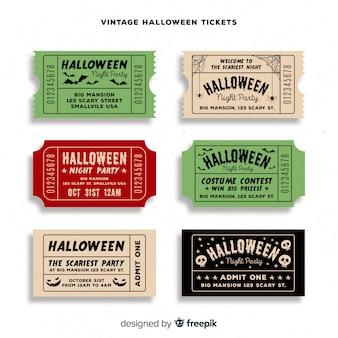 Colección de entradas de fiesta de halloween con diseño vintage