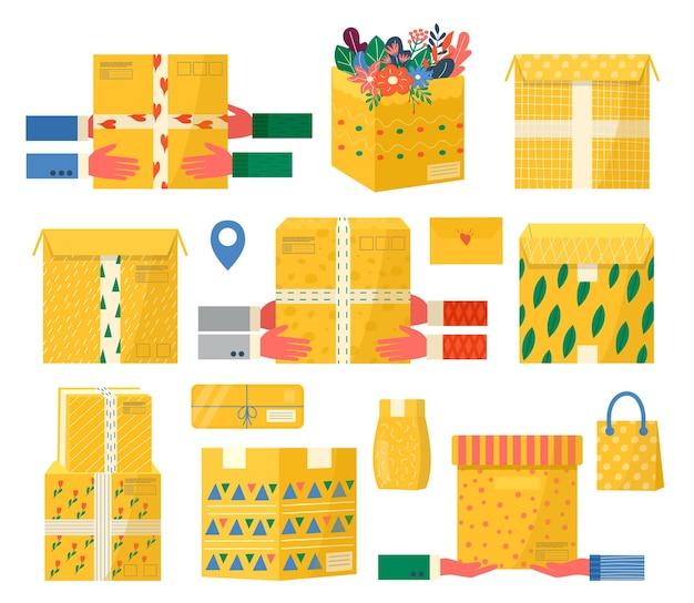 Colección de envases de cartón con cinta adhesiva para iconos de entrega. conjunto de paquetes postales, paquetes, cajas, cartas, sobres. mensajero que sostiene el paquete disponible para el concepto de servicio de entrega en línea. vector