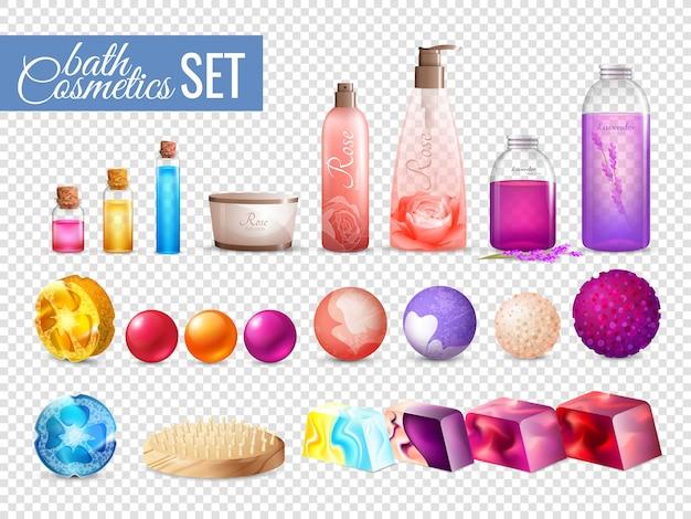 Colección de envases cosméticos para el baño