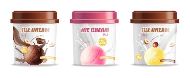 Colección de envases de cubos de helados de plástico