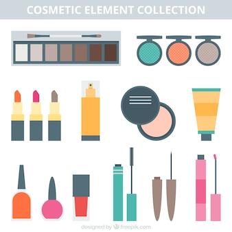 Colección de equipamiento de belleza en diseño plano