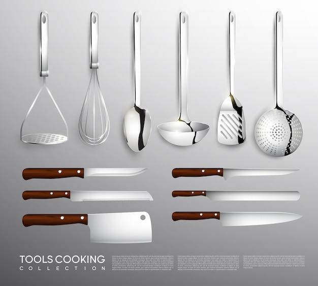 Colección de equipamiento de cocina realista con utensilios de cocina.
