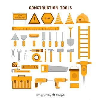 Colección equipamiento de construcción plano