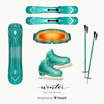 Colección de equipamiento de deportes de invierno