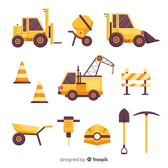 Colección de equipos de construcción planos