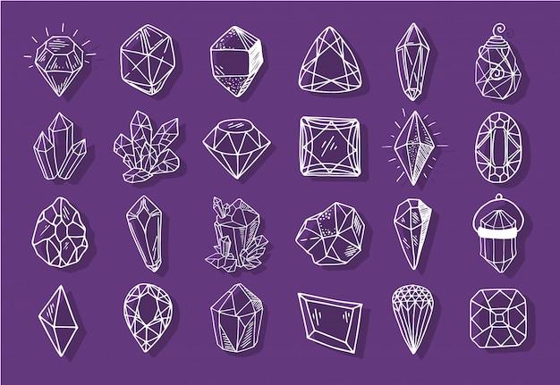 Colección de esbozos de iconos: cristales o gemas, engastados con piedras preciosas, diamantes