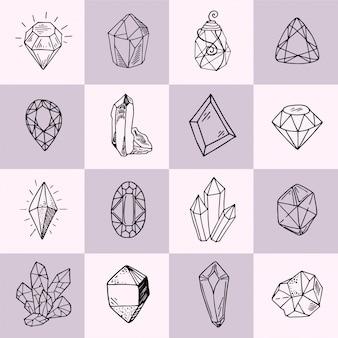 Colección de esbozos de iconos vectoriales: cristales o gemas con piedras preciosas de joyería